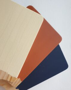 Cornish Milk Mineral Paint swatches in Milk Maid, Squid Ink and Lobster