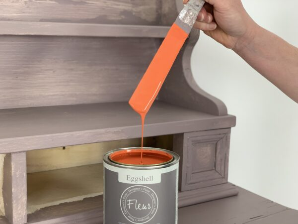 Fleur Paint Pot with spatula furniture painting orange paint for upcycling