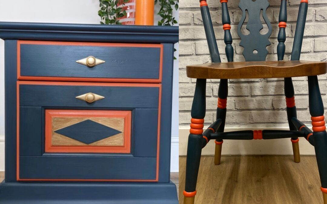 hand painted chair and drawers